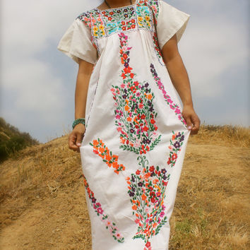 Flowers Flowers Flowers LONG Hand Embroidered Vintage Mexican Maxi Cotton Dress