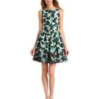 Taylor Dresses Women's Floral Print Fit and Flare Dress, Jade, 10 Missy