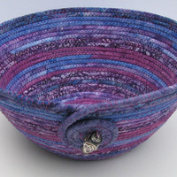 Handmade Coiled Fabric Bowl, Purple
