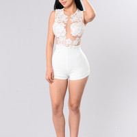All The Right Places Romper - White