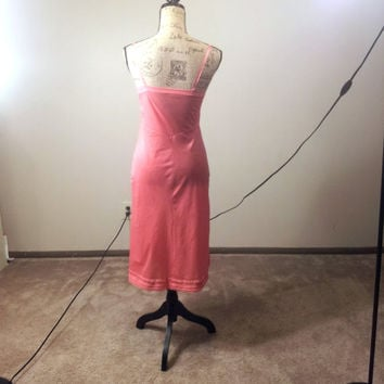 Vintage Full Slip Pink/Peach Nightgown Lace Nylon Nightie 1950s Lingerie Mad Men Pin Up Size Small Sheer PERFECT CONDITION!