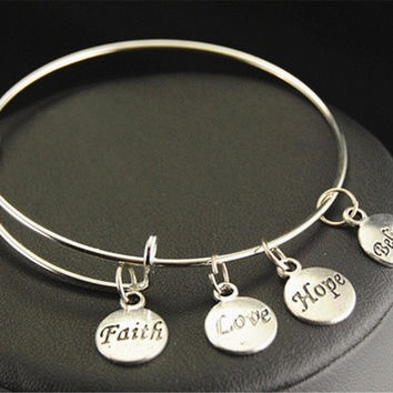 NEW Accessories 1pcs Letter FAITH LOVE HOPE BELIEVE Charm copper Jewelry Bracelets E151 [8833394764]