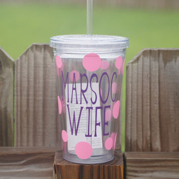 Marsoc Wife 16 oz Acrylic Insulated Double Walled Tumbler Cup With Lid and Matching Straw, Custom Design With Flowers or Polka Dots