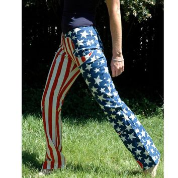 American flag print multicolor long pants trousers Sweatpants