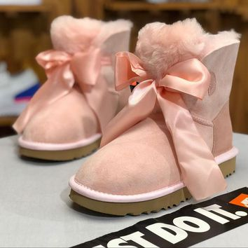 SPBEST UGG winter new lady snow boots classic novelty series bow mini ankle boots 1098360 pink