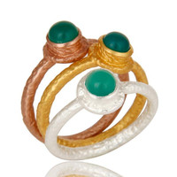 18K Gold Plated Brass Green Onyx Gemstone 3 Piece Stackable Ring Set
