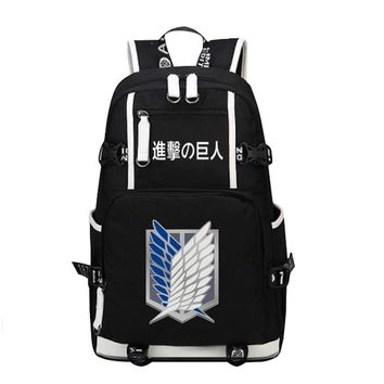 Cool Attack on Titan Fashion Rucksack Canvas men Backpack Anime  Scout Legion Military Police Cos Printing School Bags women Mochila AT_90_11
