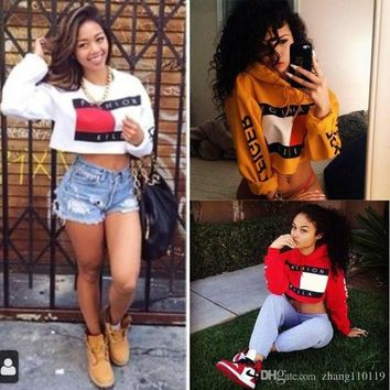2018 Striped fashion killa letters Hooded Cropped Women Crop Tops Winter Short Sweatshirts Women's Hoodies Harajuku Skate Jumper Pullov