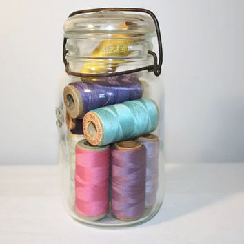 Atlas E-Z Seal Mason Jar Filled with Thread, Pastel Sewing Lot