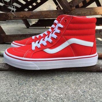 DCCKBE6 Vans Red And White High Top Sneaker Flats Shoes Canvas Sport Shoes