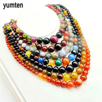Yumten Hot Sale Women Choker Necklace Natural Agate Beads Stone Body Jewelry Fashion Rhinestone Chain Tower Classic Style Gifts