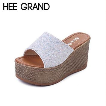 HEE GRAND Bling 2018 Women Wedge Slippers Women Fashion Causal Slide fit for Party Sexy Girls Sandals XWZ4996