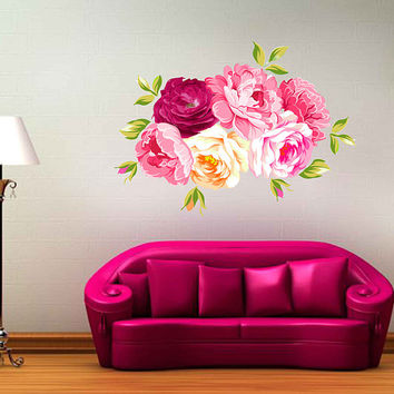 Peony Wall Decal Peony Flowers Wall Sticker Vintage Watercolor Peony Wall Stickers Floral Wall Decals Wall Decor cik2265