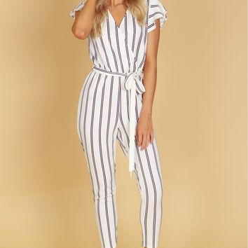 Vertical Striped Short Sleeve Jumpsuit Ivory/Black