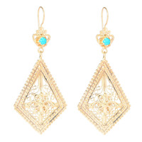 Gemstone Elongated Kite Filigree Earrings