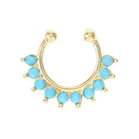 Turquoise and Gold Clip On Septum Hoop