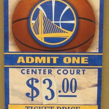 "GOLDEN STATE WARRIORS GAME TICKET ADMIT ONE GO WARRIORS WOOD SIGN 6""X12'' NEW"