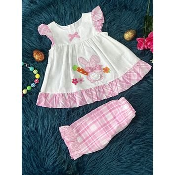 Easter Bonnie Baby White W/Pink Ruffle Bunny Tail And Carrot Set
