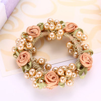 Fashion Elegant Headwear Women Gum Pearl Hair Rope Full Beads Headbands  Pearl  Accessories Flower Rubber Headband Tressless