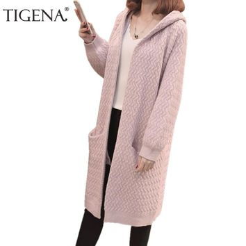 TIGENA Hooded Long Cardigan Female 2018 Autumn Winter Long Sleeve Knitted Sweater Cardigans Women Winter Jackets Coats Red Pink