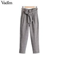 women vintage hounds tooth plaid pants bow tie belt warm thick chic ladies fashion casual full length trousers
