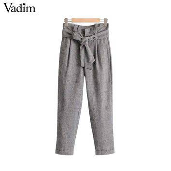 Vadim women vintage houndstooth plaid pants bow tie blet warm thick chic ladies fashion casual full length trousers KZ1083