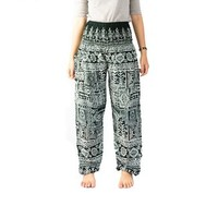 Boho Pants Hippie Elephant Pants Bangkokpants Women's Yoga Pants Boho Peacock Design