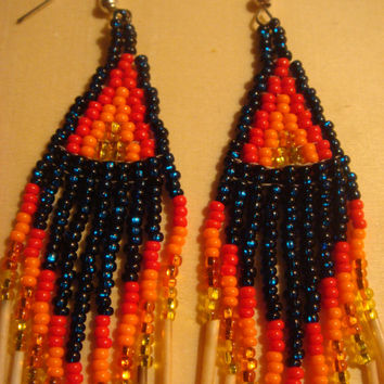 Teal blue beaded earrings, porcupine quill earrings, seed beads, teal/red/orange, native jewelry, First Nations crafts