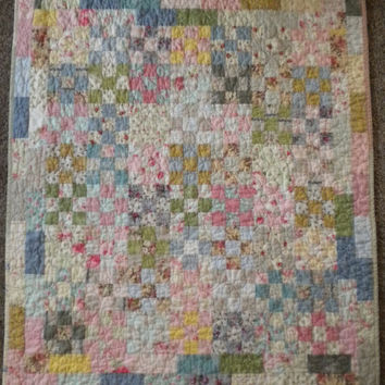 Pastel baby quilt,soft floral crib quilt, cottage chic bedding, baby girl bedding, quilted baby blanket, shabby chic bedding, nine-patch