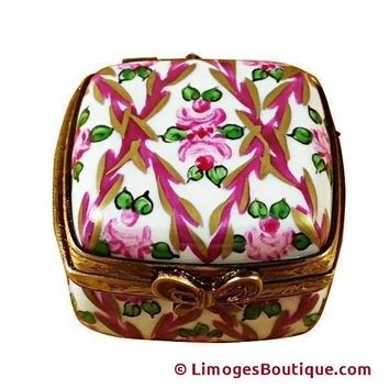 SMALL FLORAL SQUARE LIMOGES BOXES