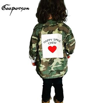 GOOPORSON Baby Girl Jacket Long Sleeve Autumn Girls Army Jacket Coat With Heart Fashion Outerwear For Kids Baby Winter Clothes