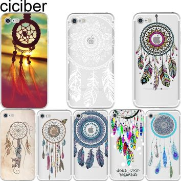 ciciber Indian Style Dream Catcher Net With Feathers soft silicon case cover For iPhone 6 6S 7 8 plus 5S SE X Fundas Capa coque