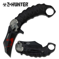 SKULL TACTICAL BLACK ASSISTED OPENING KNIFE WITH FINGER RING