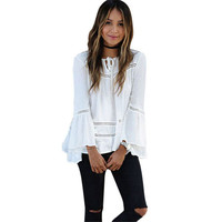 Women's Cutout Boho Bell Sleeve White Oversized Blouse Top with Front Ties