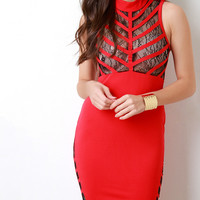 Mock Neck Lace Contrast Bodycon Dress