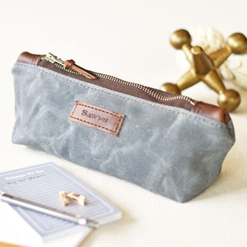 NO. 275 Personalized Zipper Pouch, Slate Gray Waxed Canvas