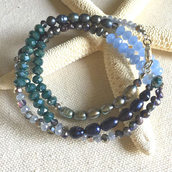 Blue Beaded Wrap Bracelet - Blue Bead and Pearl Bracelet - Freshwater Pearl and Bead Bracelet - Bohemian Wrap Bracelet and Necklace