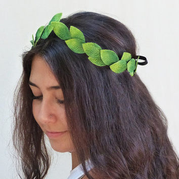 Green Leaf Headband - Green Velvet Leaf Crown. Leaf Headband, Leaf Fairy Crown, Grecian Crown, Woodland