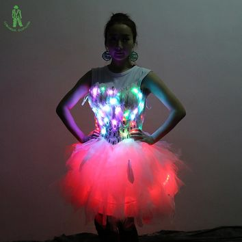Free Shipping Colorful LED Lighting Clothing Show Club Stage Dancer Ballet Dress Costume Ballerine Halloween Femme Wedding Suit