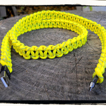 Yellow Reflective Paracord Wrapped iPhone 5 Charger