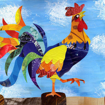 Rooster decor, Rooster kitchen decor, rooster kitchen, chicken decor, kitchen decor, farm kitchen art, farm animal nursery, mixed media