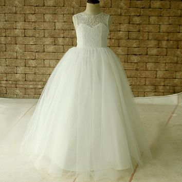 sweetheart pretty ivory/white flowergirl tulle dress bow little flowe girl kids puffy prom dress pageant ball gown size 8 10 12