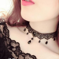 Fashion Black Velvet Choker Necklace for Women Statement Necklaces & Pendants Bijoux Femme Collier Jewelry Collares Mujer -03324