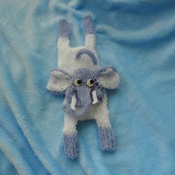 Hand Knit Elephant, Knitted Toys, Stuffed Animals, Plush knit toy, Children's toys, Baby Boy Gifts, Birth Announcment