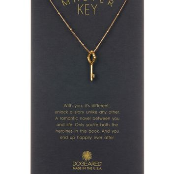 Dogeared | 14K Yellow Gold Vermeil 'Master Key' Beaded Vintage Key Pendant Necklace | Nordstrom Rack