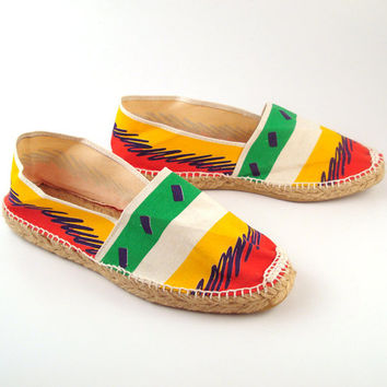 Espadrilles Sandals Vintage 1980s Colorblock Birritz Made in France Women's size 10