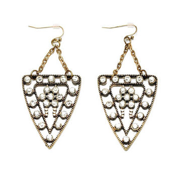 Triangle Rhinestone Earrings
