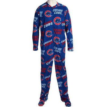 Chicago Cubs MLB Wildcard Mens Fleece Unionsuit Pajamas