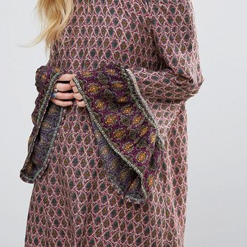 Lunik Off Shoulder Printed Dress With Frill Sleeves at asos.com