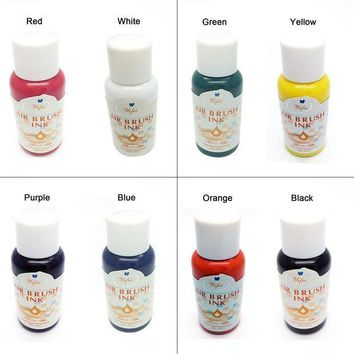 ac PEAPO2Q 8 Colors Ink For Airbrush Nail Art Basic Color Pigment sets Air brush Nail Accessories Nail Pigments for Nail Stencils Painting